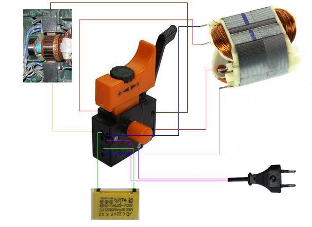 Схема подключения переключателя на дрель
